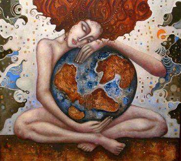 На рисунке символическое изображение роли женщины когда она в материнской заботе об земной шар