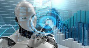 Робот рассматривает голограмму искусственного интеллекта.
