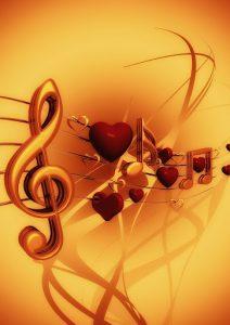Скрипичные ключи, ноты и сердца. Музыка важна для чистых сердец.