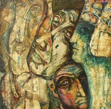 на картинке человеческие лица с застывшими гримасами страданий в искаженных чертах, они близки друг другу, но не осознают своего единства