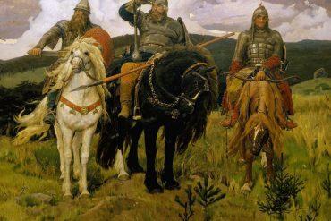 На картине три богатыря на конях в вечном дозоре, они сильны своей дружбой