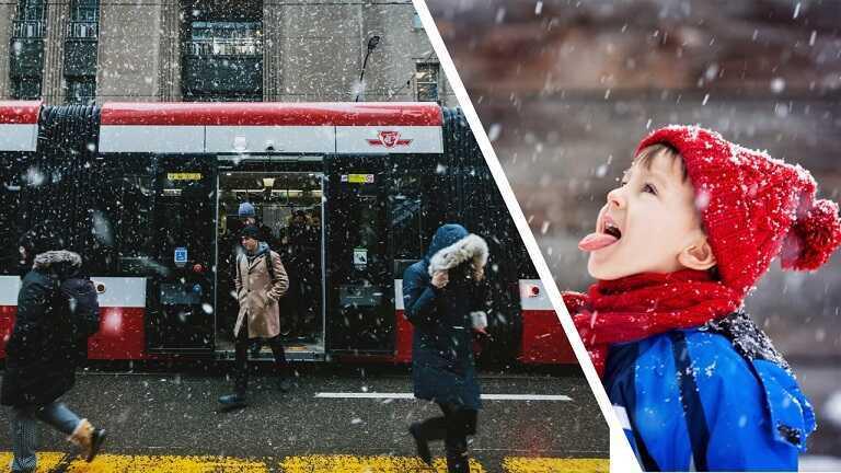 Картинка со снегопадом, символично разделена пополам, показывая нам мир глазами ребенка , и как этот самый мир видят взрослые .