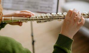 Мальчик играет на флейте. Творческое развитие продвигает ребенка. Возможно, он выступает в оркестре. Знают родители - развитие детей формируется окружением.