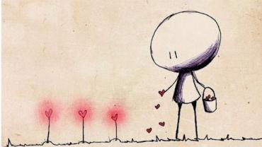 Стилизованный образ человека, девочки юного возраста. Она сеет семена любви. Ее мир: ровный золотистый свет и ростки любви повсюду